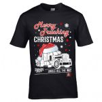 Funny Premium Retro Christmas Santa Hat Merry Trucking Christmas Lorry Driver Mens Xmas T-shirt Top